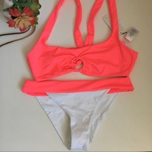 NWT L*space Neon pink Julia & Veronica swim set